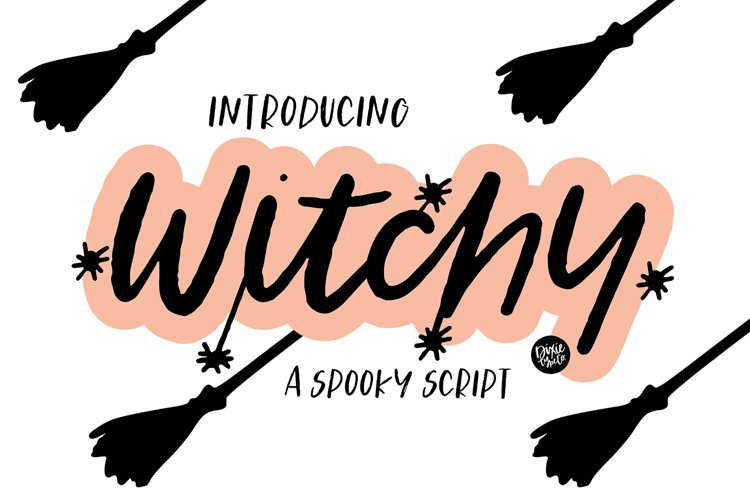 WITCHY a Distressed Halloween Script example image 1