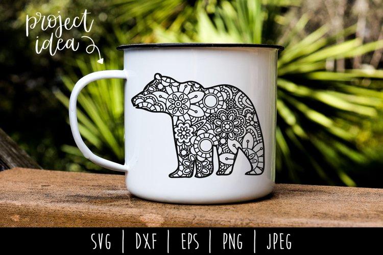 Bear Mandala Zentangle SVG, DXF, EPS, PNG, JPEG example image 1