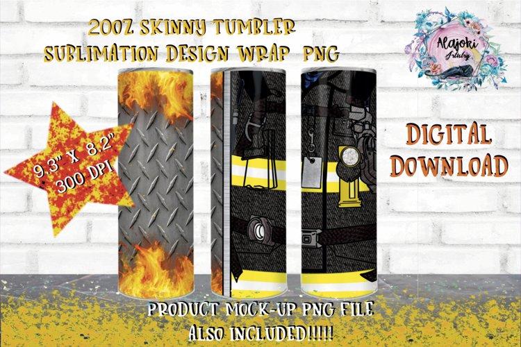 20oz|Yellow| Black Fireman Split| Sublimation Tumbler Wrap example image 1