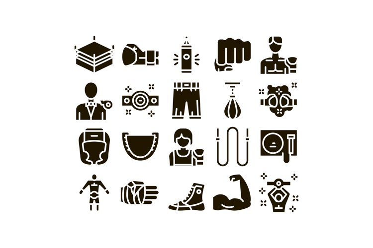 Boxing Sport Tool Glyph Set Vector example image 1