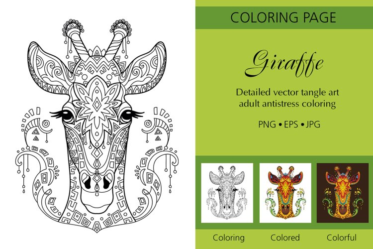 Coloring for adult tangled head of Giraffe