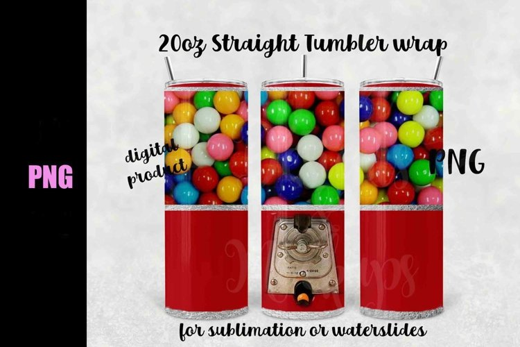 Gumball Machine tumbler wrap 20 oz straight - Downloadable example image 1