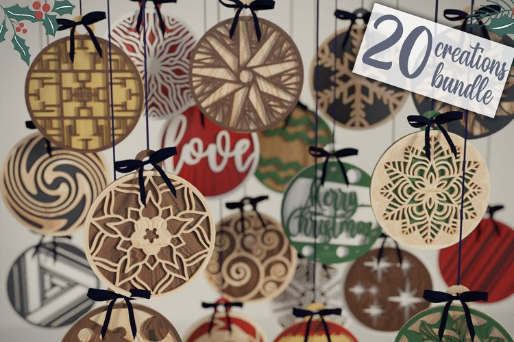 Christmas Balls Ornaments - 20 designs Bundle example image 1