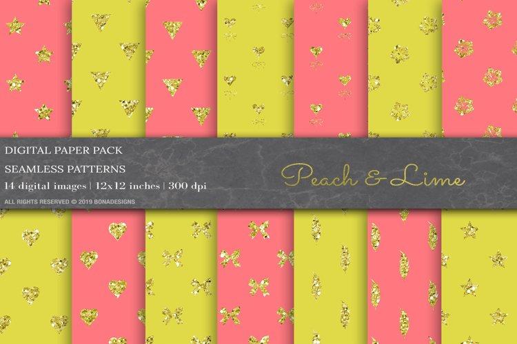 Peach Lime Glitter Geometric Patterns example image 1
