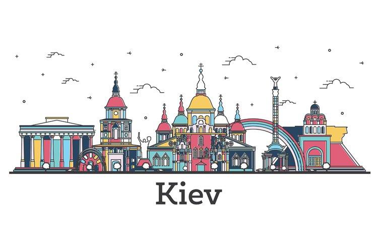 Outline Kiev Ukraine City Skyline with Color Buildings example image 1