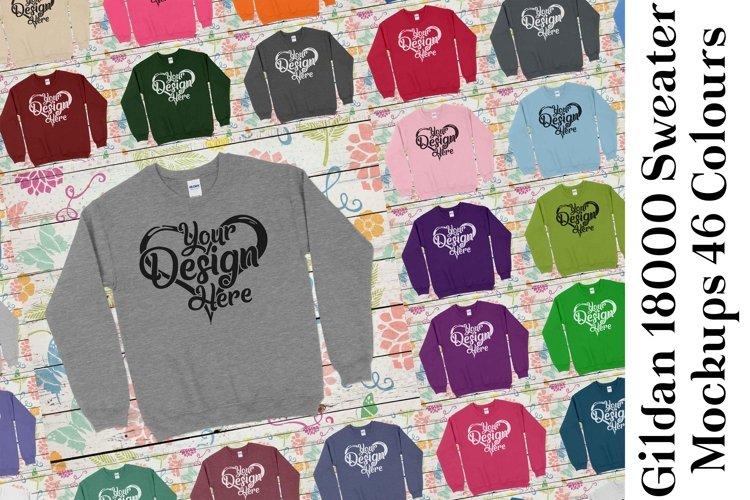 Gildan Sweatshirt Mockup 18000 Mock Up Black White Grey 942 example image 1