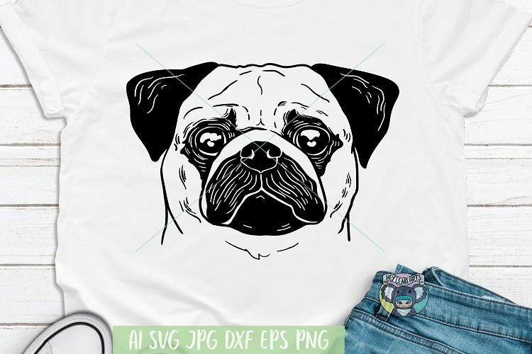 Pug svg, Pug Face, Dog Face svg, Dog Mom svg, Cricut Files example image 1