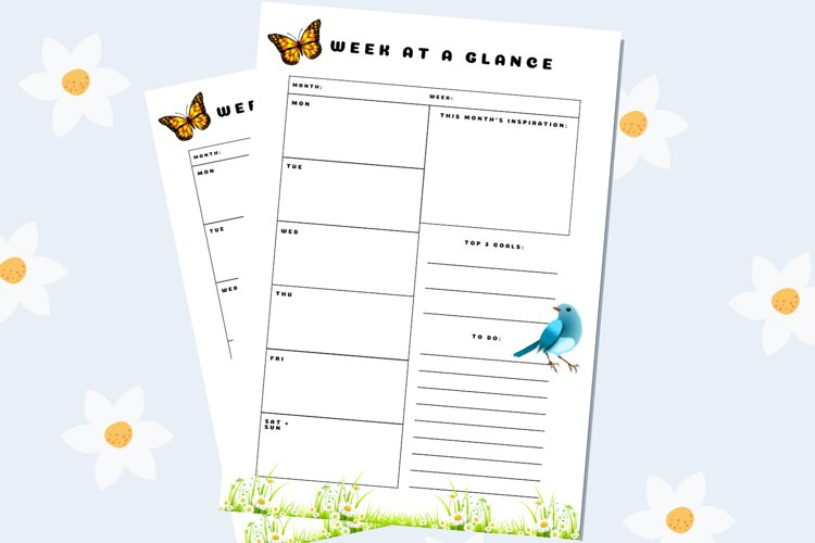 Weekly printable planner Spring edition