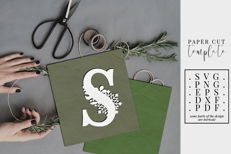 Winter letter S, single initial paper cut, snowflakes SVG example image 1