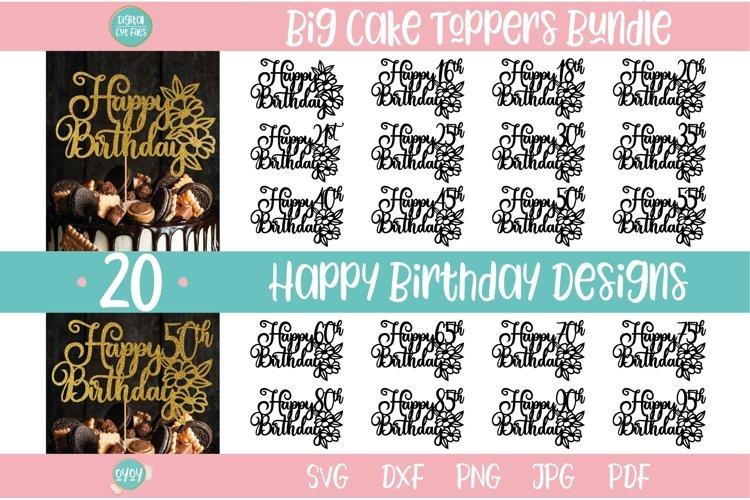 Happy Birthday Cake Topper SVG Bundle | Birthday Bundle SVG