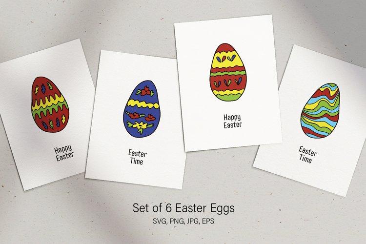 Happy Easter Eggs set of 6 elements SVG PNG JPG EPS