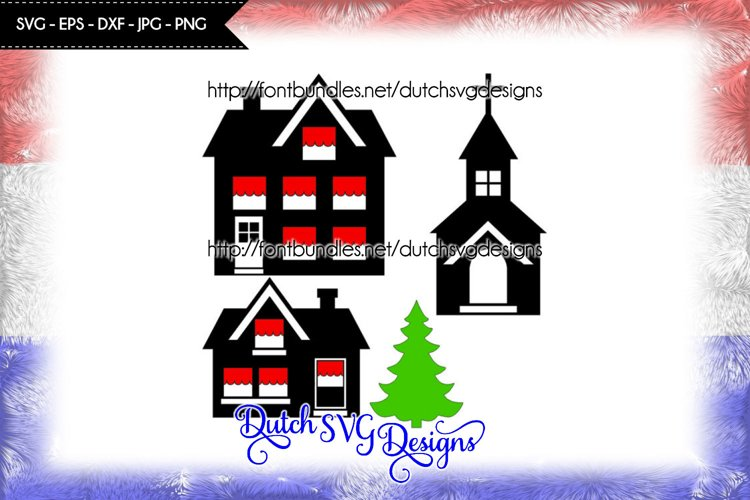 Cutting file houses, church and christmas tree example image 1