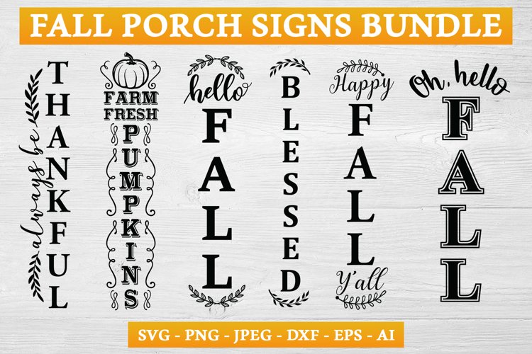 Fall Porch Sign SVG Bundle example image 1