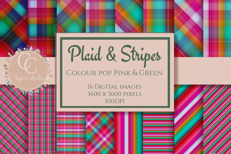 Digital paper - Plaid tartan - Colour pop pink and green example image 1