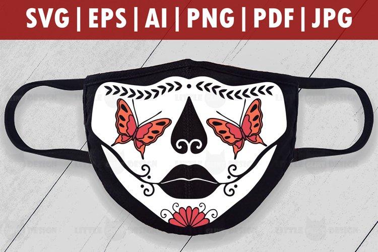 Halloween Butterfly Skull Mask SVG, Skull Face mask svg, example image 1