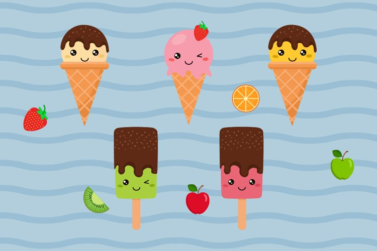 Set of Doodle Ice Creams in a Bright Cartoon Style example 1