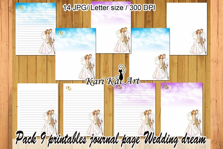 Pack of 9 sheets of diary Wedding dream violet and blue example image 1