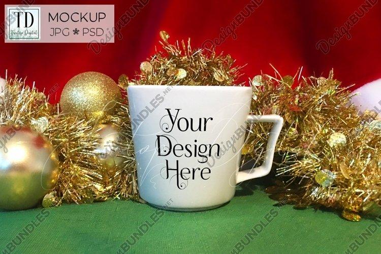 Christmas Mug Mockup, A White Cup Mock-Up for Xmas PSD & JPG example image 1