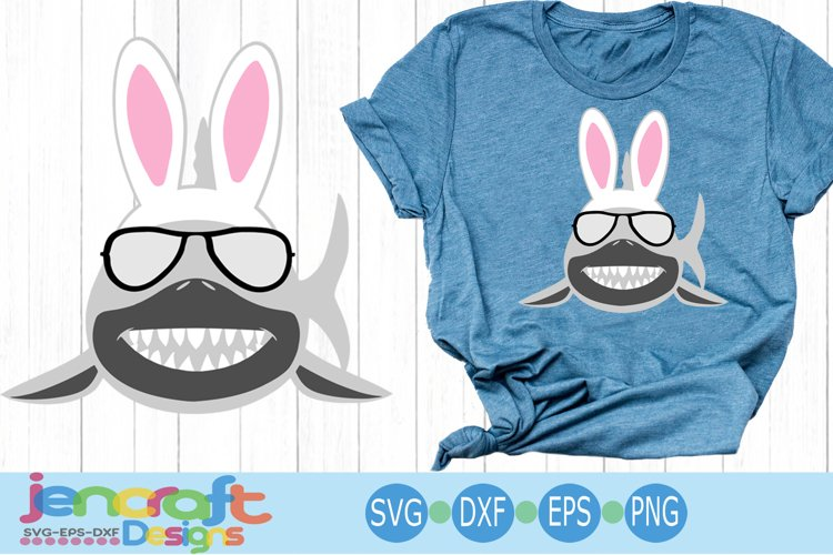 Easter Bunny Shark Svg, Sunglasses svg, eps, dxf, png example image 1
