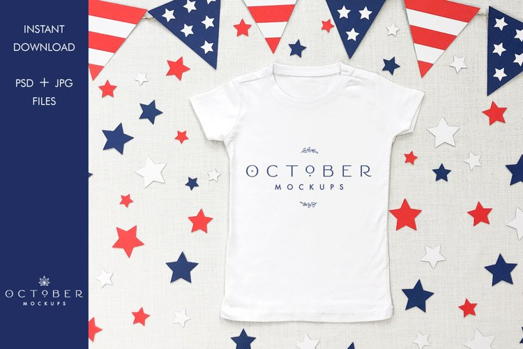 4th of July White T-shirt Mockup in PSD and JPG | SVG mockup example image 1