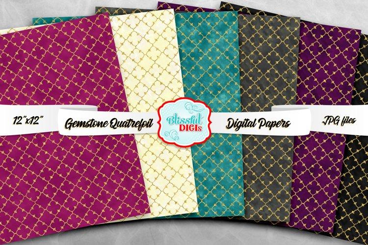 Digital Papers Bundle - Gemstone Quatrefoil - JPG