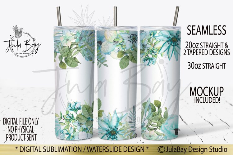 20oz Skinny Tumbler PNG Sublimation Blue Flowers Watercolor example image 1