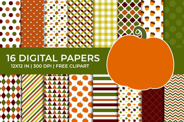 Autumn Pumpkin Digital Papers, Fall Leaves, Acorn Patterns example image 1