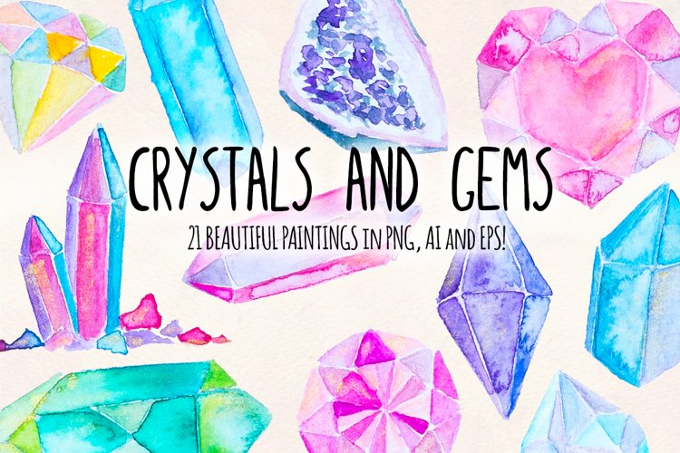 21 Crystal Gems Hand Painted Mystical Watercolor Vectors