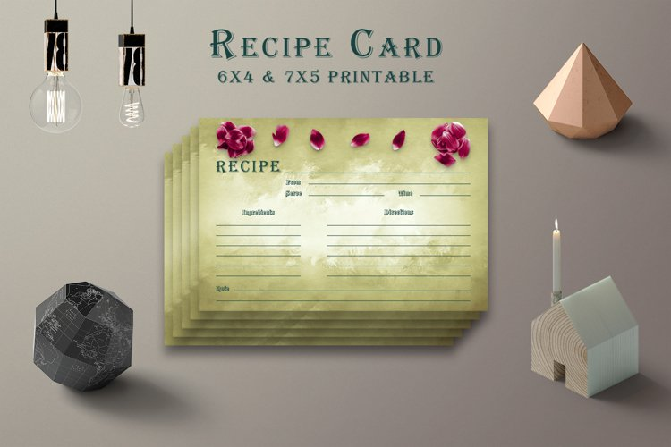 Olive Green Recipe Card Printable V38 example image 1