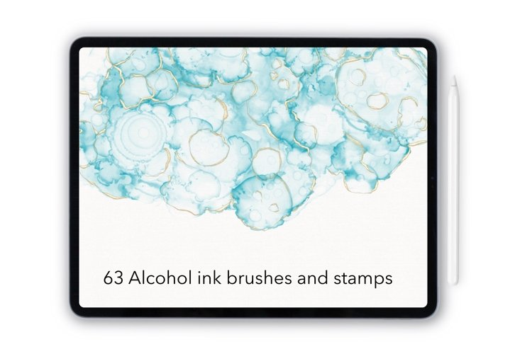 Procreate alcohol ink brushes and stamps. Ethereal ink brush example image 1