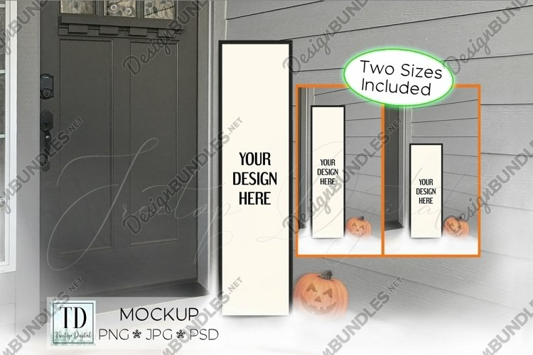 Halloween Vertical Sign Mockup Set, Tall Porch Sign Mock-up example image 1