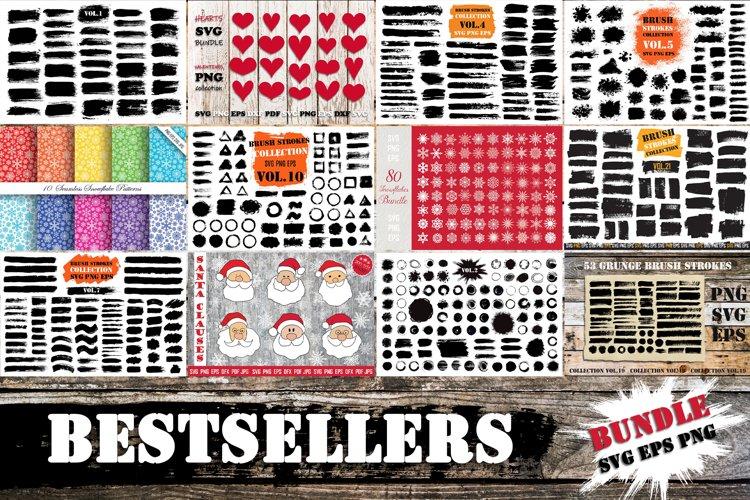 Bestsellers Bundle | Brush Strokes SVG, Snowflakes PNG SVG example image 1