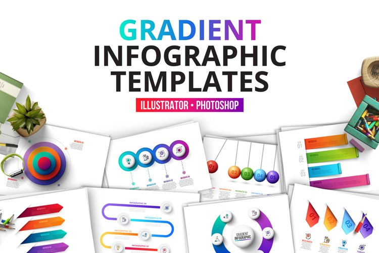 Gradient infographics templates example image 1