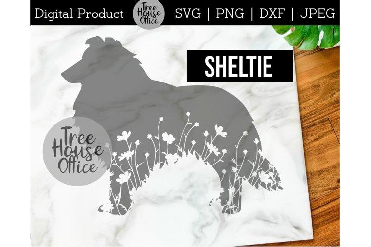 Sheltie SVG, Dog with Flowers SVG PNG, Shetland Sheepdog