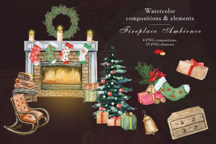 Christmas Fireplace decoration, Watercolor elements