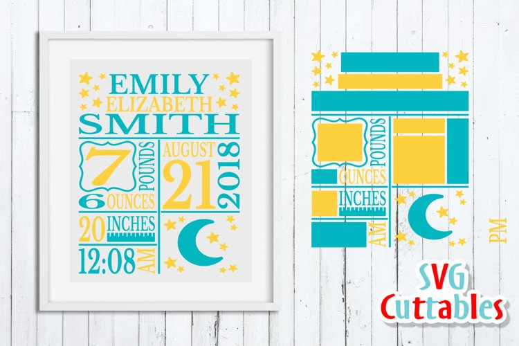Baby Birth Announcement Template, SVG Cut File