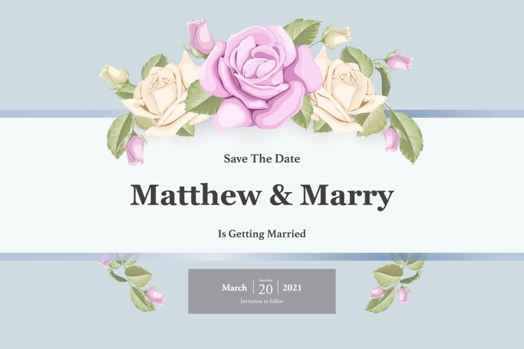 simple wedding invitation template with roses example image 1
