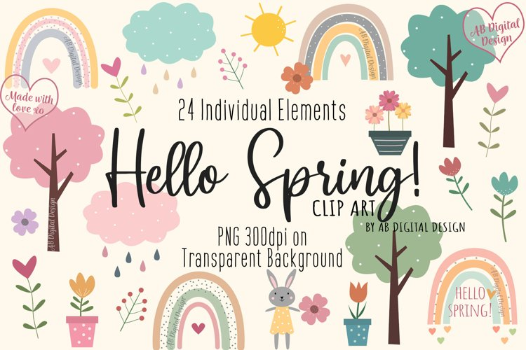Spring Clipart, Flowers Rainbows Garden, Mothers Day PNG