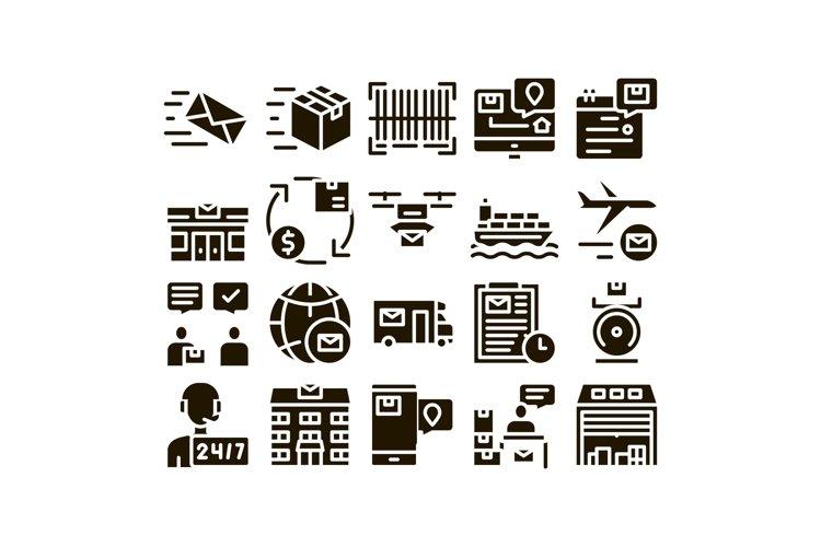 Postal Transportation Company Icons Set Vector example image 1