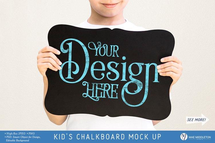 Child Holding Chalkboard Sign   Mockup for School, Milestone example image 1