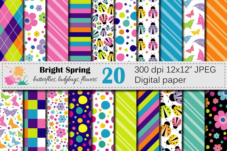 Bright Spring Digital Paper with butterflies, ladybugs and flowers / Spring bugs background / Scrapbooking paper example image 1