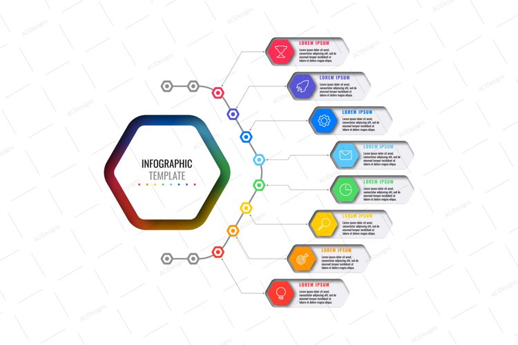 Infographic template with eight hexagonal elements example image 1