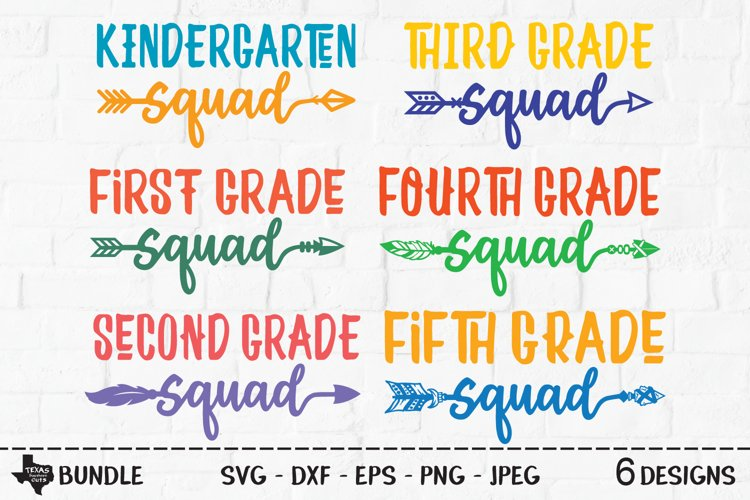 School Grades Bundle SVG, Cut Files, K-5th Grade Designs example image 1