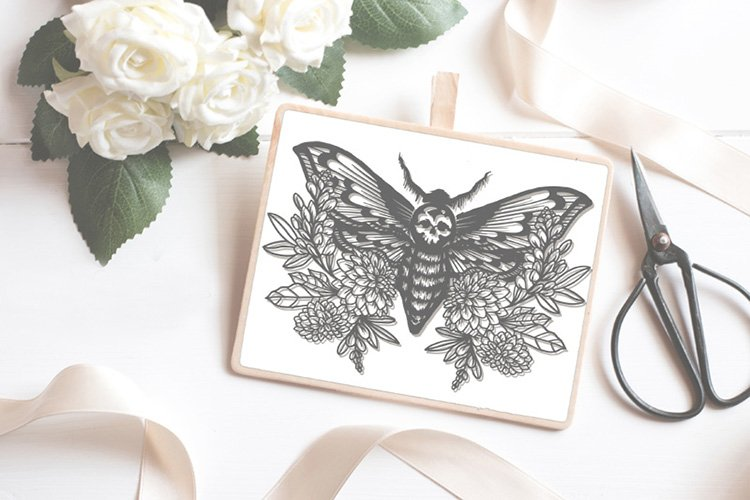 Skull Moth papercutting sublimation graphic illustration example image 1