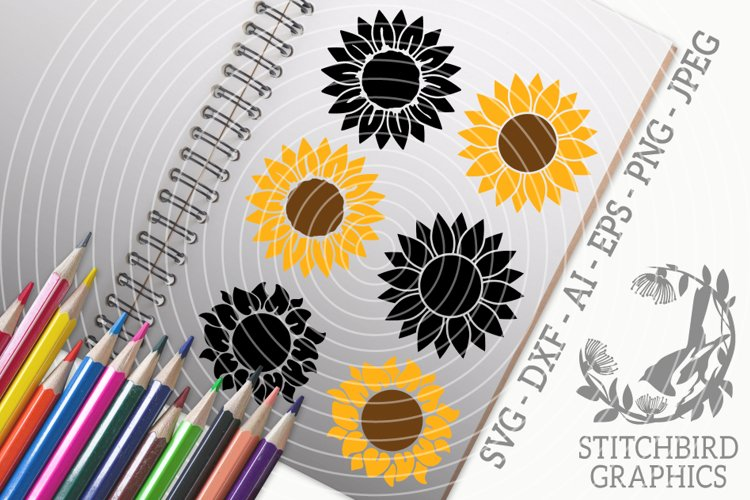 Sunflower Bundle SVG, Silhouette Studio, Cricut, Eps, Dxf example image 1
