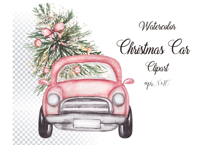 Watercolor Christmas Car Illustration example image 1