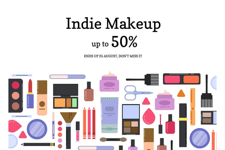 Vector flat style makeup and skincare sale background example image 1