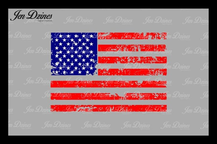 Distressed Flag SVG DXF EPS PNG example image 1