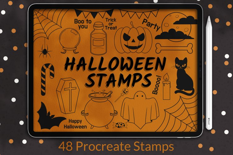 Halloween Procreate Stamp Brushes, Autumn stamps example image 1