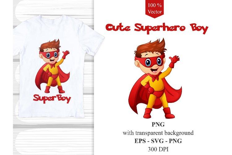 Cute Superhero Boy Vector Clipart